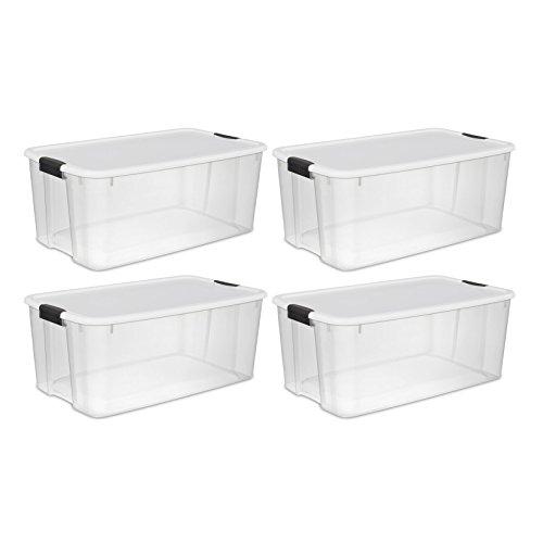 Sterilite 70 Quart Ultra Latch Storage Box With White Lid
