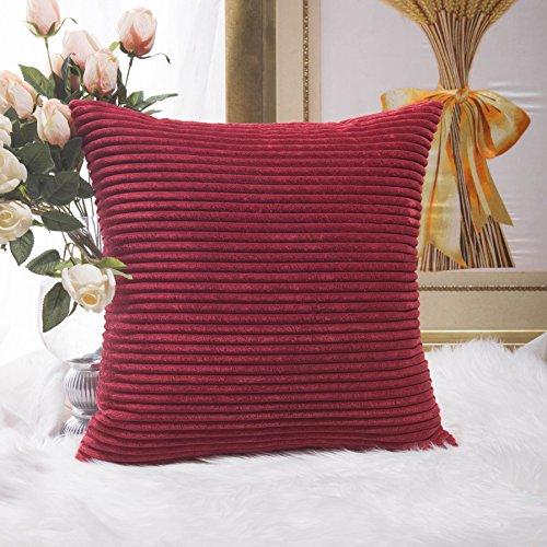 Home Brilliant Super Soft Striped Corduroy Throw Pillow