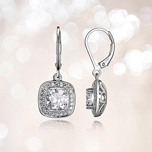 e439e7f8f Drop earring featuring sparkling round cubic zirconia stones surrounded by  halos of smaller stones. Similar products. Amazon Essentials Sterling Silver  ...