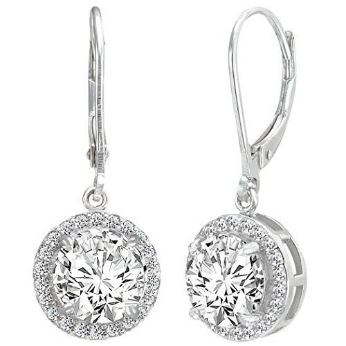 31fc9d6fa EVER FAITH Women's 925 Sterling Silver Elegant Round CZ Prong Setting  Dangle Earrings