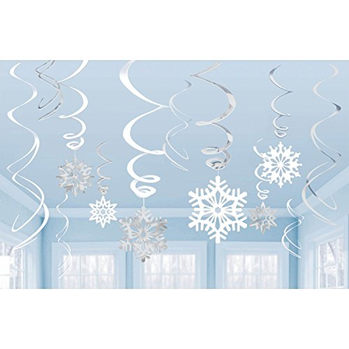 Silver Glitter Let It Snow Garland Winter Banner With Snowflakes