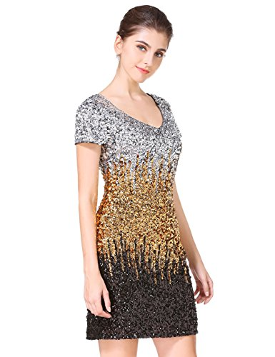 91e7561d MANER Women's Sequin Glitter Short Sleeve Dress Sexy V Neck Mini Party Club  Bodycon Gowns